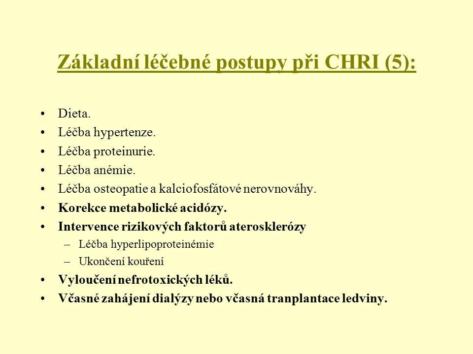Základní léčebné postupy při CHRI (5): Dieta. Léčba hypertenze. Léčba proteinurie. Léčba anémie. Léčba osteopatie a kalciofosfátové nerovnováhy. Korek