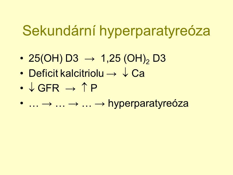 Sekundární hyperparatyreóza 25(OH) D3 → 1,25 (OH) 2 D3 Deficit kalcitriolu →  Ca  GFR →  P … → … → … → hyperparatyreóza