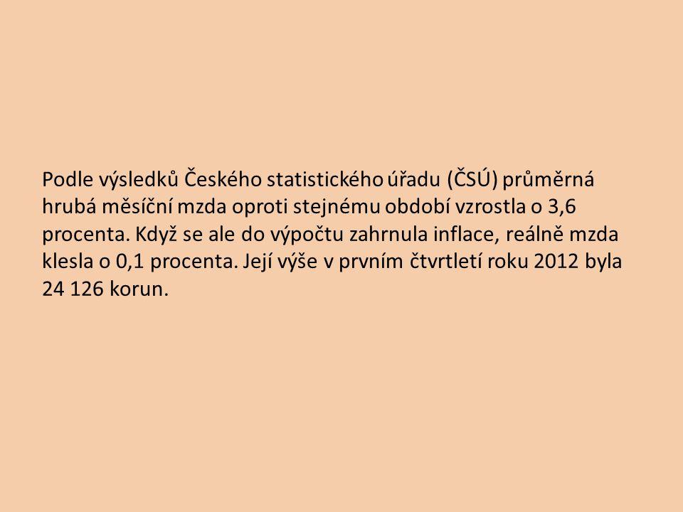 Podle výsledků Českého statistického úřadu (ČSÚ) průměrná hrubá měsíční mzda oproti stejnému období vzrostla o 3,6 procenta. Když se ale do výpočtu za