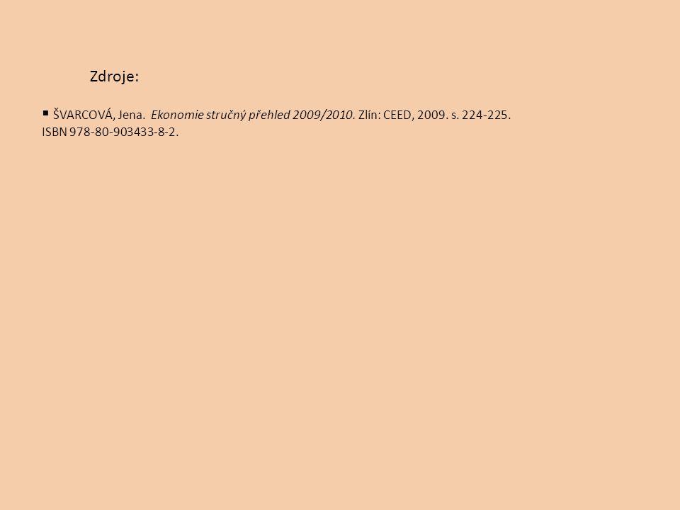  ŠVARCOVÁ, Jena. Ekonomie stručný přehled 2009/2010. Zlín: CEED, 2009. s. 224-225. ISBN 978-80-903433-8-2. Zdroje: