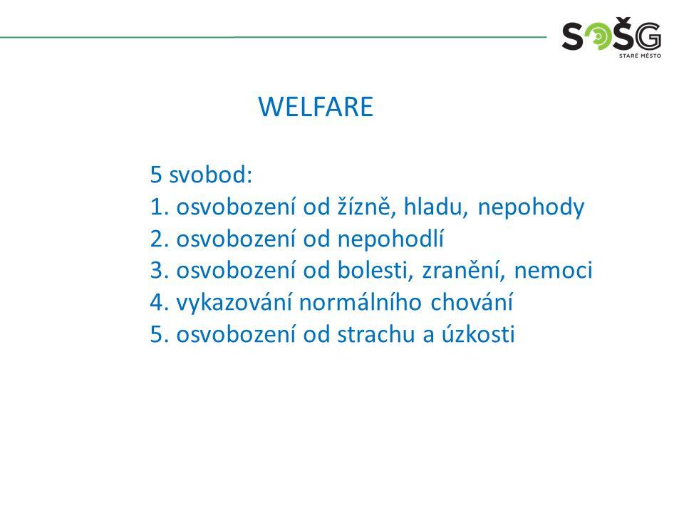 WELFARE 5 svobod: 1. osvobození od žízně, hladu, nepohody 2.
