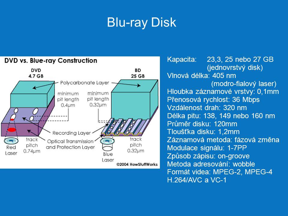 Blu-ray Disk Kapacita: 23,3, 25 nebo 27 GB (jednovrstvý disk) Vlnová délka: 405 nm (modro-fialový laser) Hloubka záznamové vrstvy: 0,1mm Přenosová rychlost: 36 Mbps Vzdálenost drah: 320 nm Délka pitu: 138, 149 nebo 160 nm Průměr disku: 120mm Tloušťka disku: 1,2mm Záznamová metoda: fázová změna Modulace signálu: 1-7PP Způsob zápisu: on-groove Metoda adresování: wobble Formát videa: MPEG-2, MPEG-4 H.264/AVC a VC-1