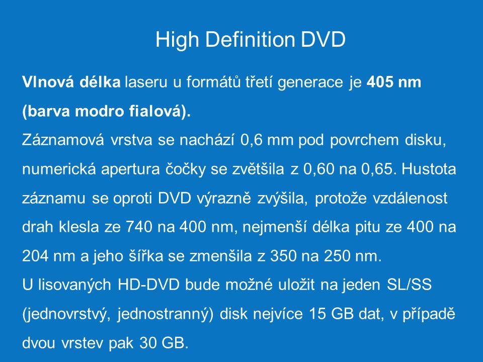 High Definition DVD Vlnová délka laseru u formátů třetí generace je 405 nm (barva modro fialová).