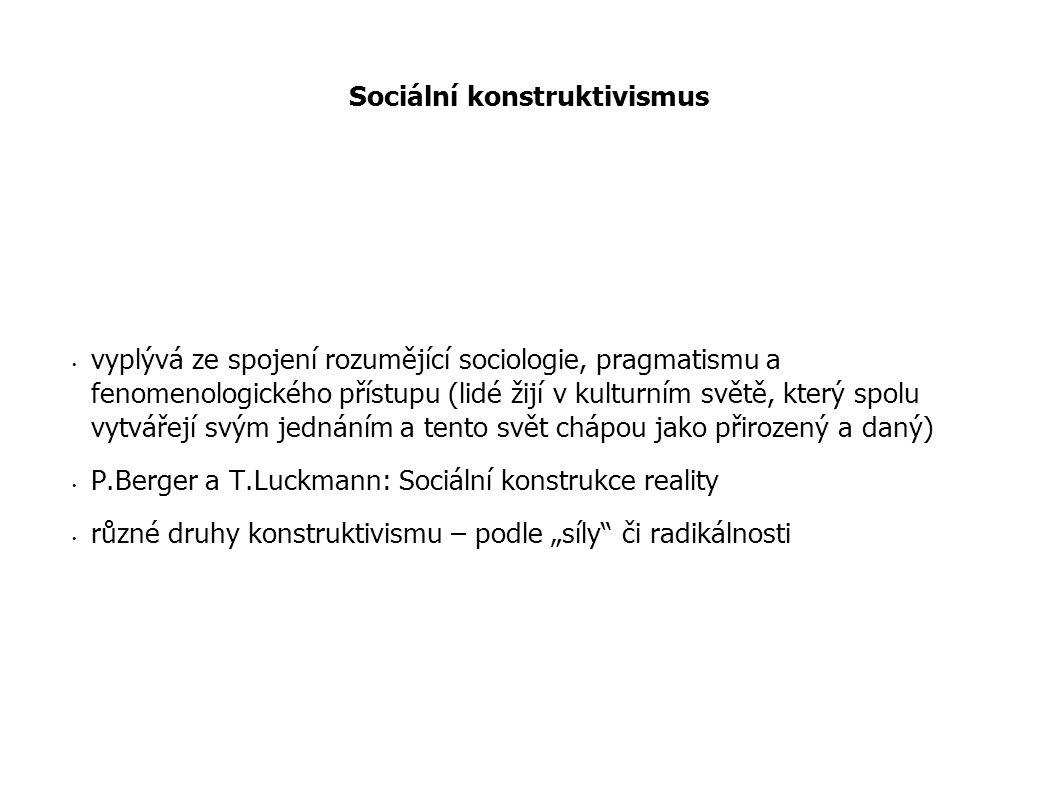 Sociální konstruktivismus vyplývá ze spojení rozumějící sociologie, pragmatismu a fenomenologického přístupu (lidé žijí v kulturním světě, který spolu