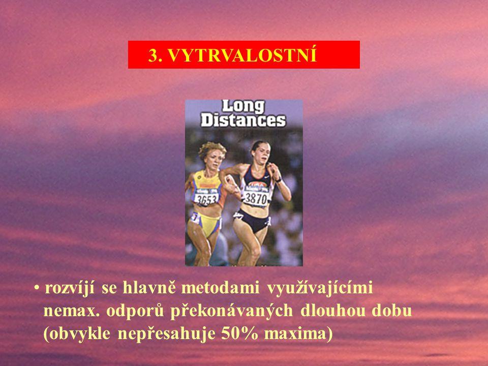 (VYS) – schopnost odolávat únavě při opakovaném (déletrvajícím) vyvíjení síly při statické nebo dynamické činnosti. 3. VYTRVALOSTNÍ (VYS) – schopnost