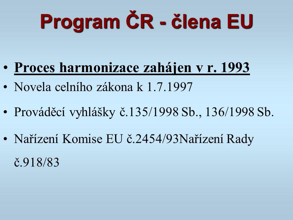 Program ČR - člena EU Proces harmonizace zahájen v r. 1993 Novela celního zákona k 1.7.1997 Prováděcí vyhlášky č.135/1998 Sb., 136/1998 Sb. Nařízení K