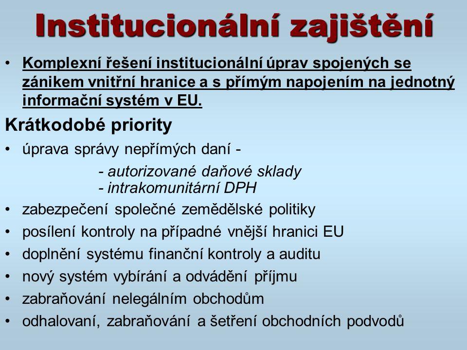 Institucionální zajištění Komplexní řešení institucionální úprav spojených se zánikem vnitřní hranice a s přímým napojením na jednotný informační systém v EU.