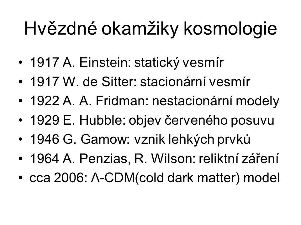 Hvězdné okamžiky kosmologie 1917 A. Einstein: statický vesmír 1917 W.
