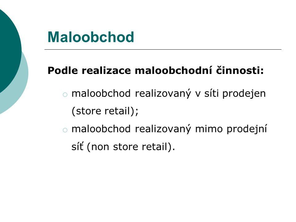 Maloobchod Podle realizace maloobchodní činnosti: o maloobchod realizovaný v síti prodejen (store retail); o maloobchod realizovaný mimo prodejní síť (non store retail).