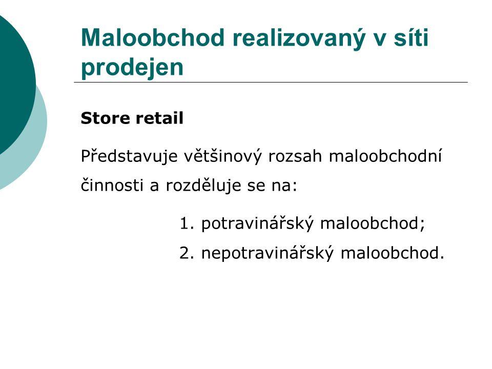 Maloobchod realizovaný v síti prodejen Store retail Představuje většinový rozsah maloobchodní činnosti a rozděluje se na: 1.