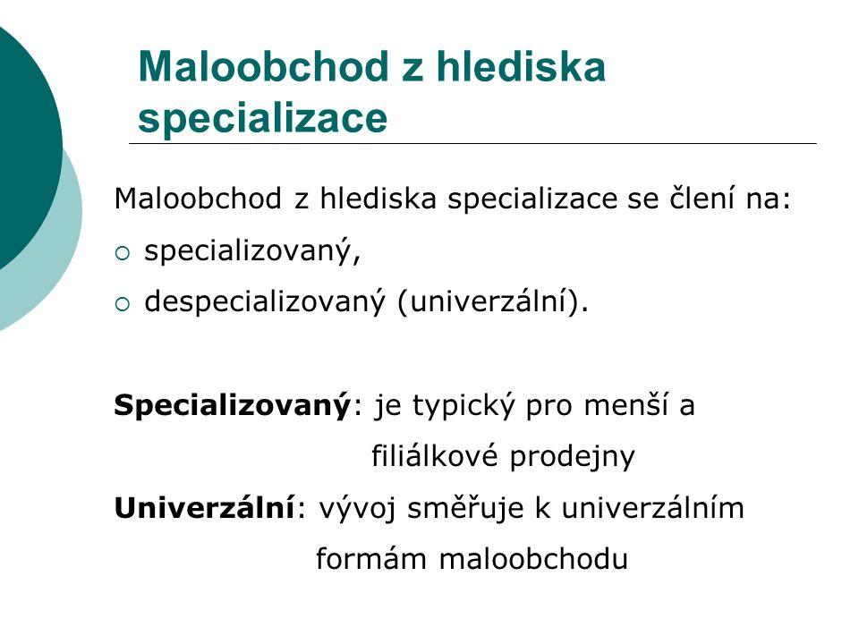 Maloobchod z hlediska specializace Maloobchod z hlediska specializace se člení na:  specializovaný,  despecializovaný (univerzální).