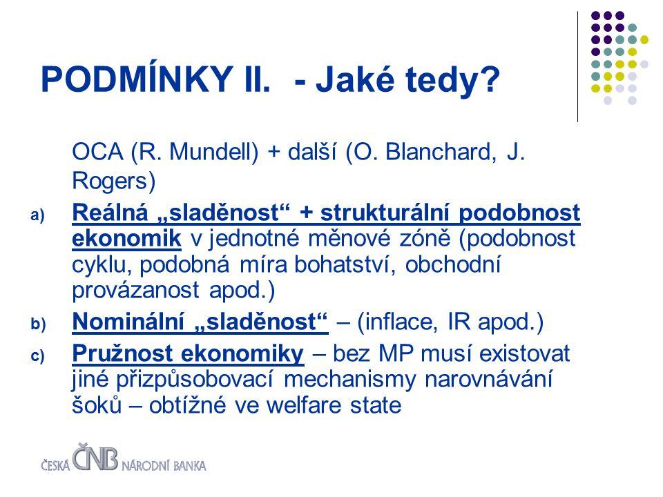 PODMÍNKY II. - Jaké tedy. OCA (R. Mundell) + další (O.