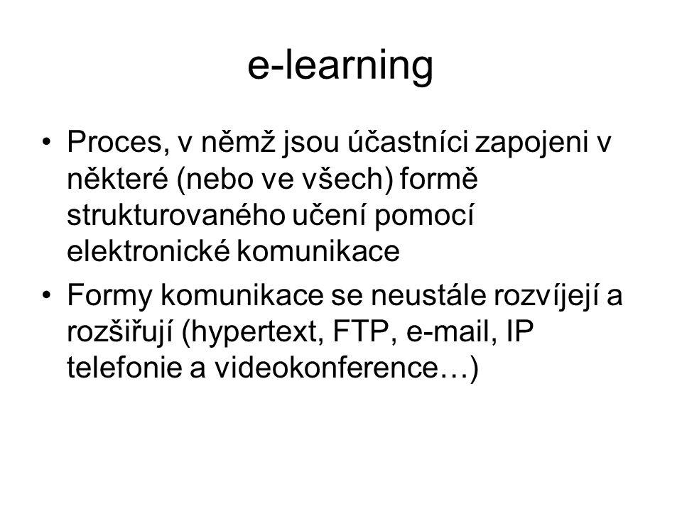 e-learning Proces, v němž jsou účastníci zapojeni v některé (nebo ve všech) formě strukturovaného učení pomocí elektronické komunikace Formy komunikace se neustále rozvíjejí a rozšiřují (hypertext, FTP, e-mail, IP telefonie a videokonference…)