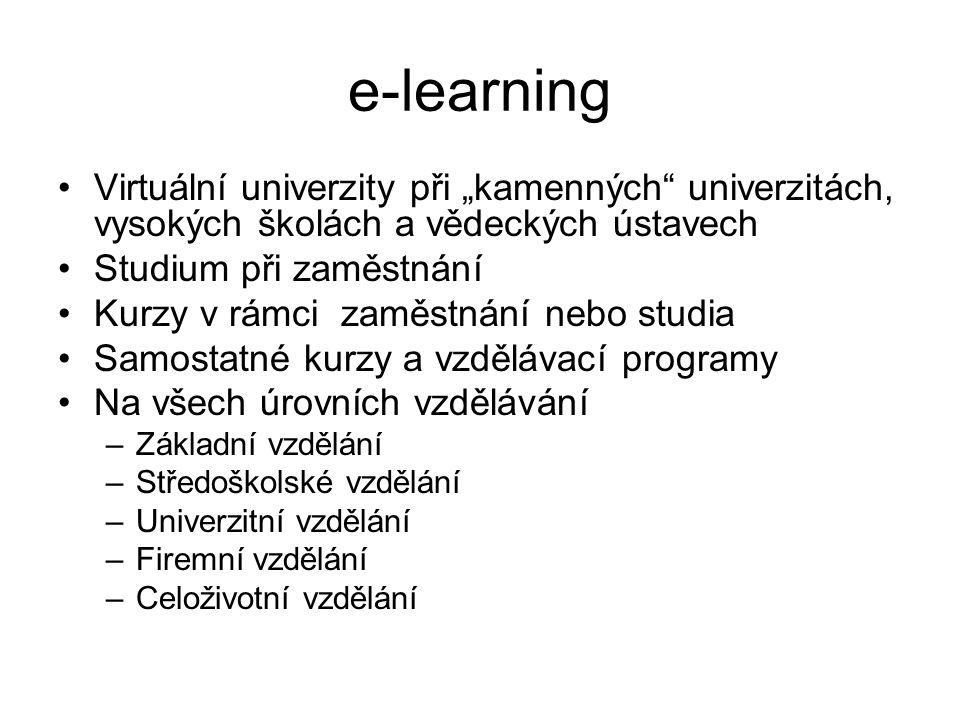 """e-learning Virtuální univerzity při """"kamenných univerzitách, vysokých školách a vědeckých ústavech Studium při zaměstnání Kurzy v rámci zaměstnání nebo studia Samostatné kurzy a vzdělávací programy Na všech úrovních vzdělávání –Základní vzdělání –Středoškolské vzdělání –Univerzitní vzdělání –Firemní vzdělání –Celoživotní vzdělání"""