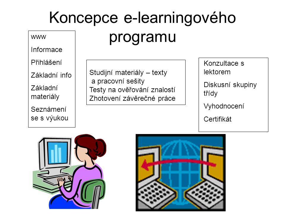 e-learning - shrnutí Profesní příprava a rozvoj dovedností je obohacen o další novou techniku díky Internetu, založenou na velkých možnostech: –Jednoduché a levné formy vzdělávání –Přístupu k literatuře –Jednoduchém a pravidelném kontaktu s učitelem –Skupinových diskusí