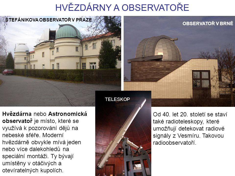 HVĚZDÁRNY A OBSERVATOŘE OBSERVATOŘ V BRNĚ ŠTEFÁNIKOVA OBSERVATOŘ V PRAZE TELESKOP Hvězdárna nebo Astronomická observatoř je místo, které se využívá k pozorování dějů na nebeské sféře.