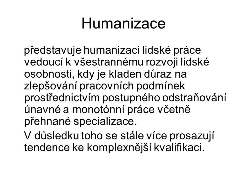 Humanizace představuje humanizaci lidské práce vedoucí k všestrannému rozvoji lidské osobnosti, kdy je kladen důraz na zlepšování pracovních podmínek