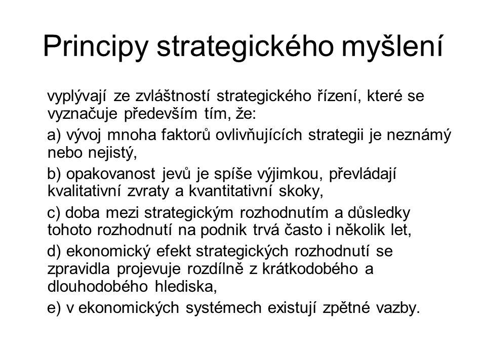 Principy strategického myšlení vyplývají ze zvláštností strategického řízení, které se vyznačuje především tím, že: a) vývoj mnoha faktorů ovlivňující