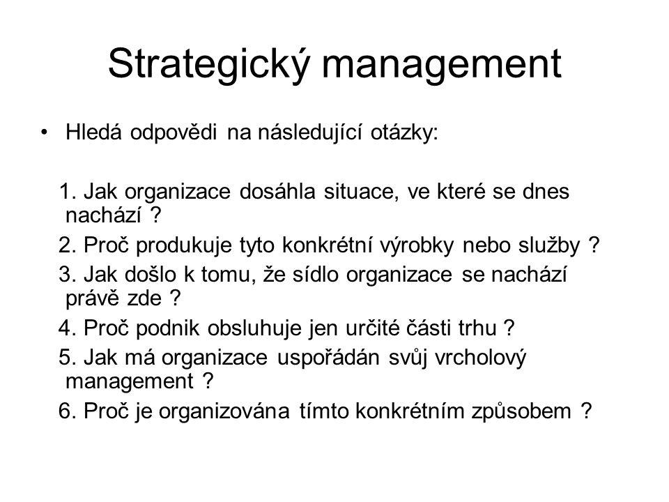 Strategický management Hledá odpovědi na následující otázky: 1. Jak organizace dosáhla situace, ve které se dnes nachází ? 2. Proč produkuje tyto konk