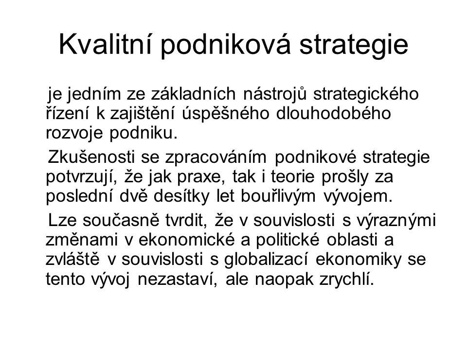 Kvalitní podniková strategie je jedním ze základních nástrojů strategického řízení k zajištění úspěšného dlouhodobého rozvoje podniku. Zkušenosti se z