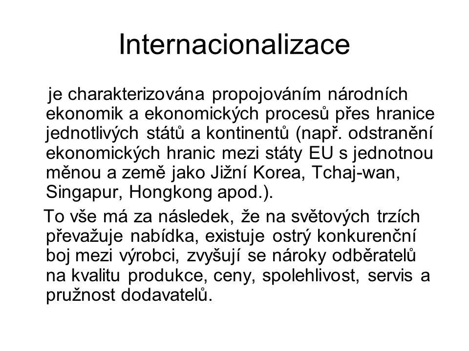 Internacionalizace je charakterizována propojováním národních ekonomik a ekonomických procesů přes hranice jednotlivých států a kontinentů (např. odst