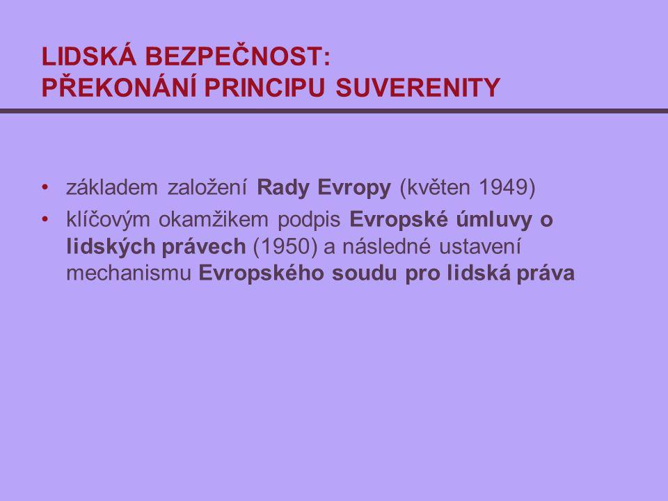 LIDSKÁ BEZPEČNOST: PŘEKONÁNÍ PRINCIPU SUVERENITY základem založení Rady Evropy (květen 1949) klíčovým okamžikem podpis Evropské úmluvy o lidských právech (1950) a následné ustavení mechanismu Evropského soudu pro lidská práva
