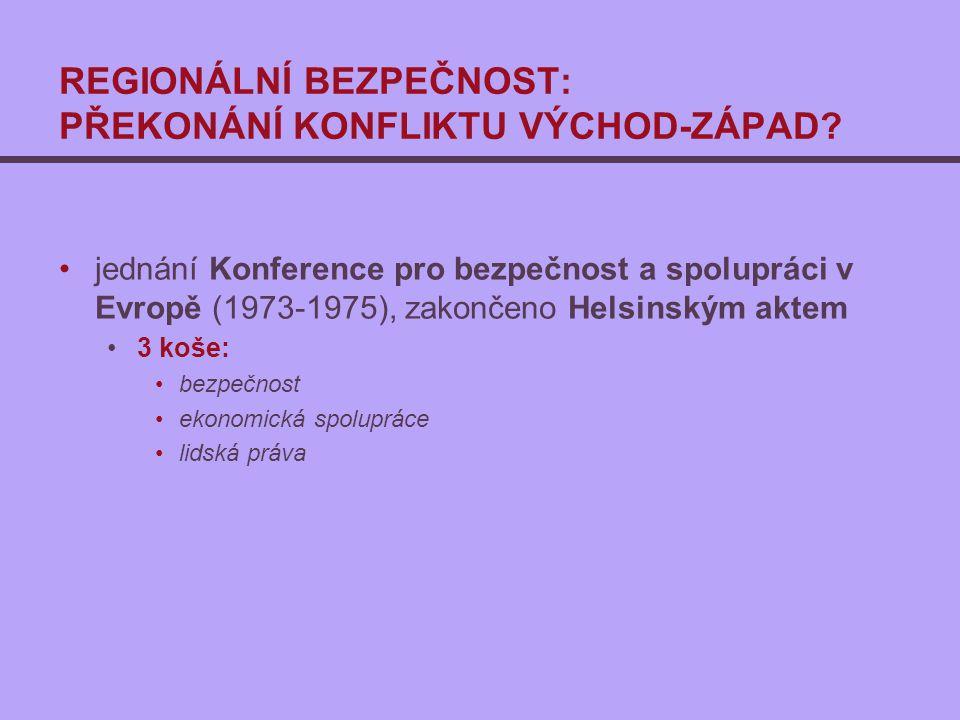 REGIONÁLNÍ BEZPEČNOST: PŘEKONÁNÍ KONFLIKTU VÝCHOD-ZÁPAD? jednání Konference pro bezpečnost a spolupráci v Evropě (1973-1975), zakončeno Helsinským akt
