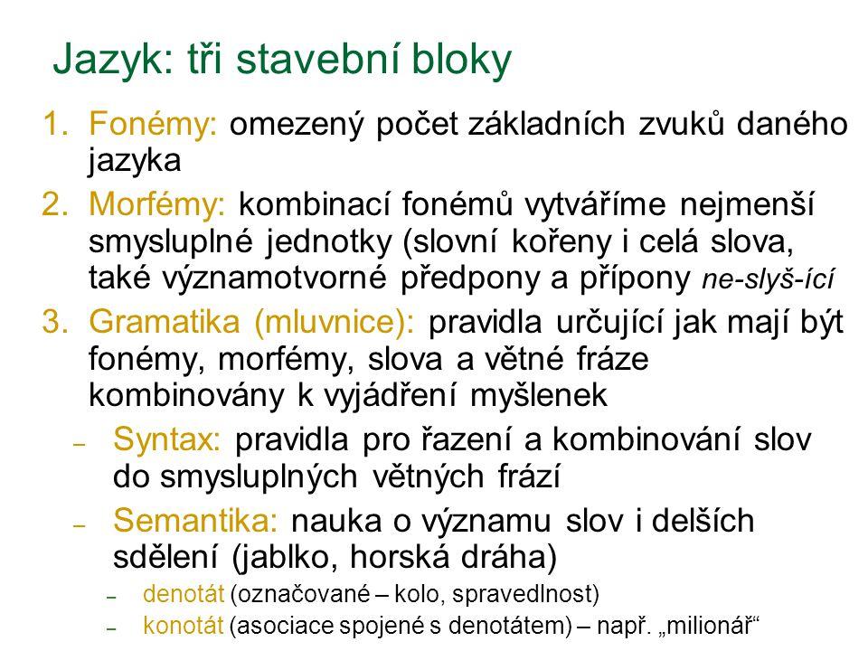 Jazyk: tři stavební bloky 1. Fonémy: omezený počet základních zvuků daného jazyka 2. Morfémy: kombinací fonémů vytváříme nejmenší smysluplné jednotky