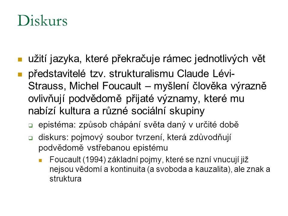 Diskurs užití jazyka, které překračuje rámec jednotlivých vět představitelé tzv. strukturalismu Claude Lévi- Strauss, Michel Foucault – myšlení člověk