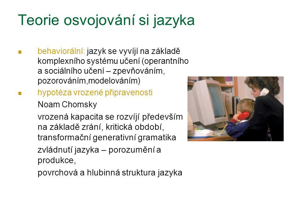 Teorie osvojování si jazyka behaviorální: jazyk se vyvíjí na základě komplexního systému učení (operantního a sociálního učení – zpevňováním, pozorová