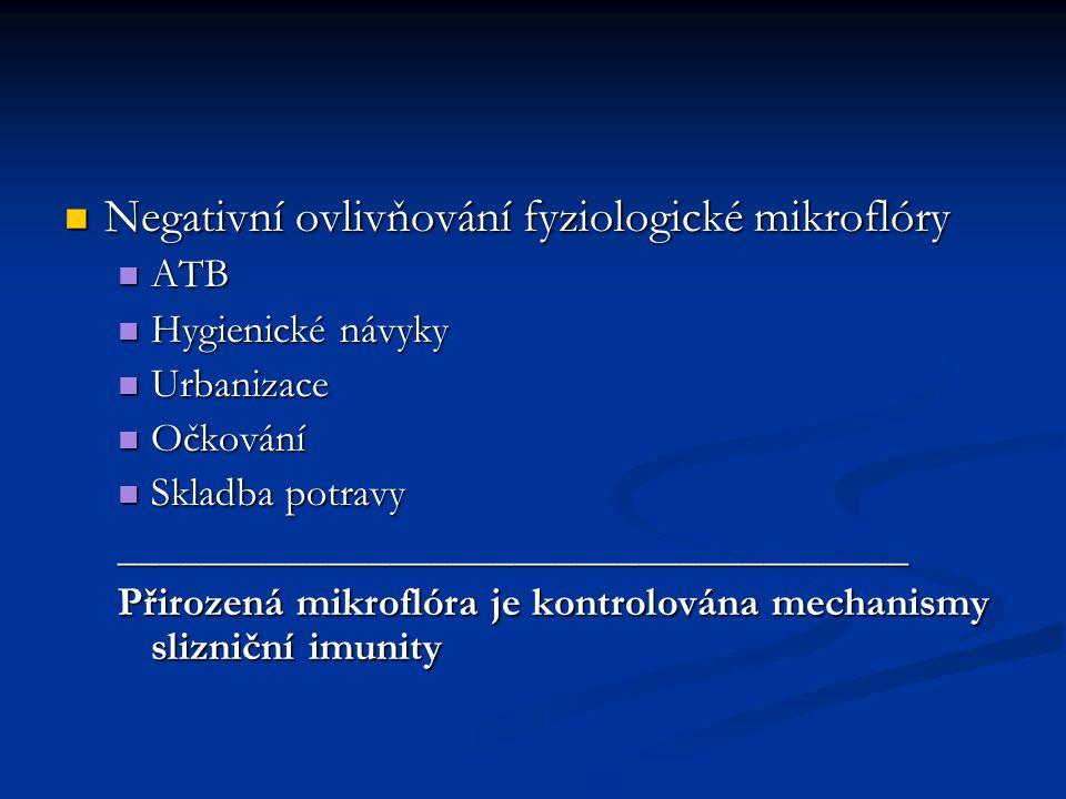 Negativní ovlivňování fyziologické mikroflóry Negativní ovlivňování fyziologické mikroflóry ATB ATB Hygienické návyky Hygienické návyky Urbanizace Urbanizace Očkování Očkování Skladba potravy Skladba potravy______________________________________ Přirozená mikroflóra je kontrolována mechanismy slizniční imunity