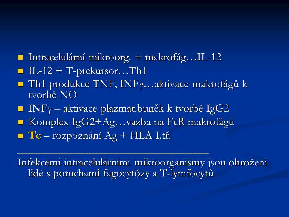 Intracelulární mikroorg.+ makrofág…IL-12 Intracelulární mikroorg.