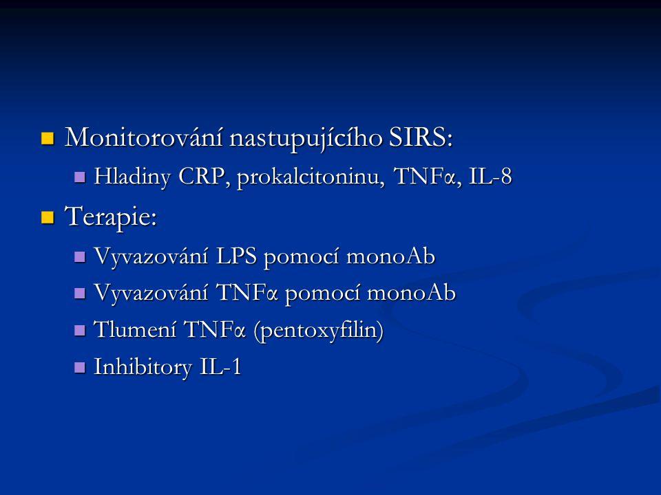 Monitorování nastupujícího SIRS: Monitorování nastupujícího SIRS: Hladiny CRP, prokalcitoninu, TNFα, IL-8 Hladiny CRP, prokalcitoninu, TNFα, IL-8 Terapie: Terapie: Vyvazování LPS pomocí monoAb Vyvazování LPS pomocí monoAb Vyvazování TNFα pomocí monoAb Vyvazování TNFα pomocí monoAb Tlumení TNFα (pentoxyfilin) Tlumení TNFα (pentoxyfilin) Inhibitory IL-1 Inhibitory IL-1