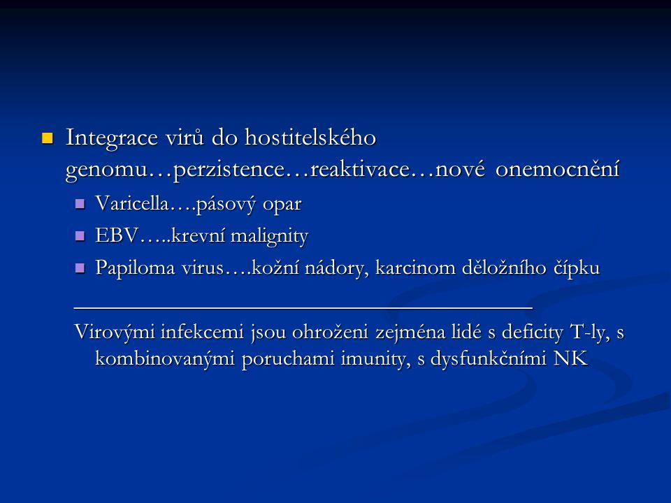 Integrace virů do hostitelského genomu…perzistence…reaktivace…nové onemocnění Integrace virů do hostitelského genomu…perzistence…reaktivace…nové onemocnění Varicella….pásový opar Varicella….pásový opar EBV…..krevní malignity EBV…..krevní malignity Papiloma virus….kožní nádory, karcinom děložního čípku Papiloma virus….kožní nádory, karcinom děložního čípku_________________________________________ Virovými infekcemi jsou ohroženi zejména lidé s deficity T-ly, s kombinovanými poruchami imunity, s dysfunkčními NK