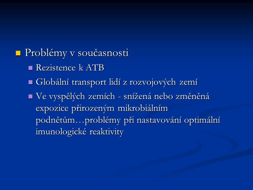 Problémy v současnosti Problémy v současnosti Rezistence k ATB Rezistence k ATB Globální transport lidí z rozvojových zemí Globální transport lidí z rozvojových zemí Ve vyspělých zemích - snížená nebo změněná expozice přirozeným mikrobiálním podnětům…problémy při nastavování optimální imunologické reaktivity Ve vyspělých zemích - snížená nebo změněná expozice přirozeným mikrobiálním podnětům…problémy při nastavování optimální imunologické reaktivity