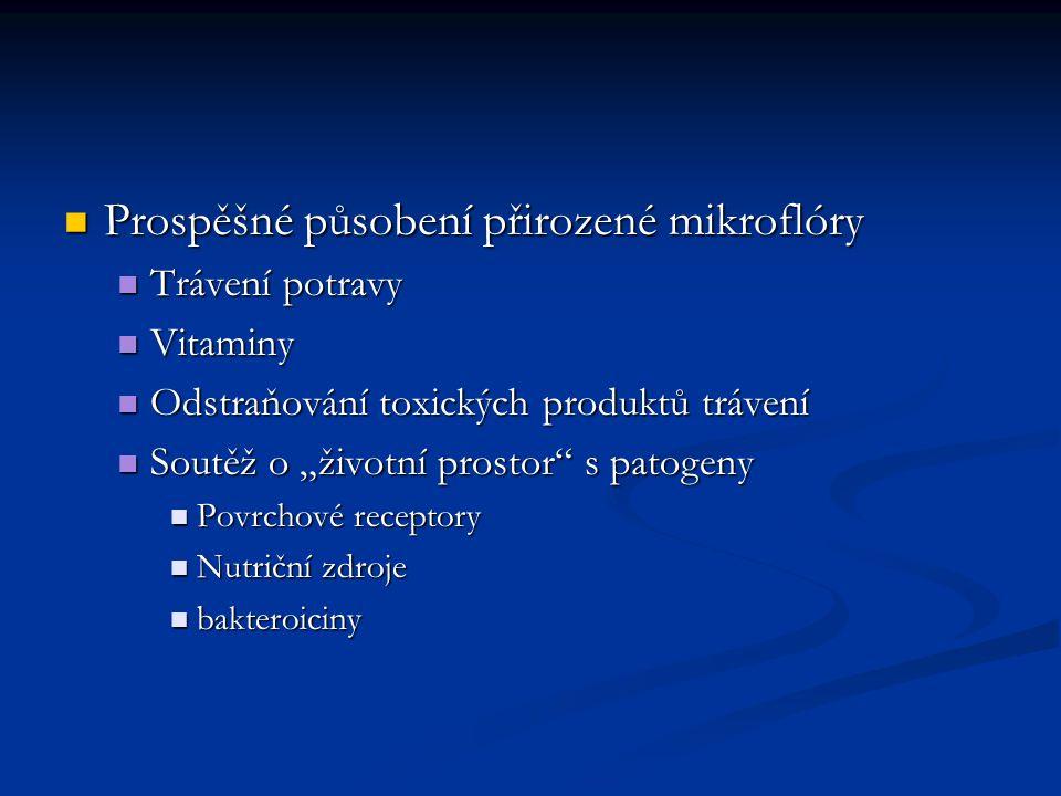"""Prospěšné působení přirozené mikroflóry Prospěšné působení přirozené mikroflóry Trávení potravy Trávení potravy Vitaminy Vitaminy Odstraňování toxických produktů trávení Odstraňování toxických produktů trávení Soutěž o """"životní prostor s patogeny Soutěž o """"životní prostor s patogeny Povrchové receptory Povrchové receptory Nutriční zdroje Nutriční zdroje bakteroiciny bakteroiciny"""