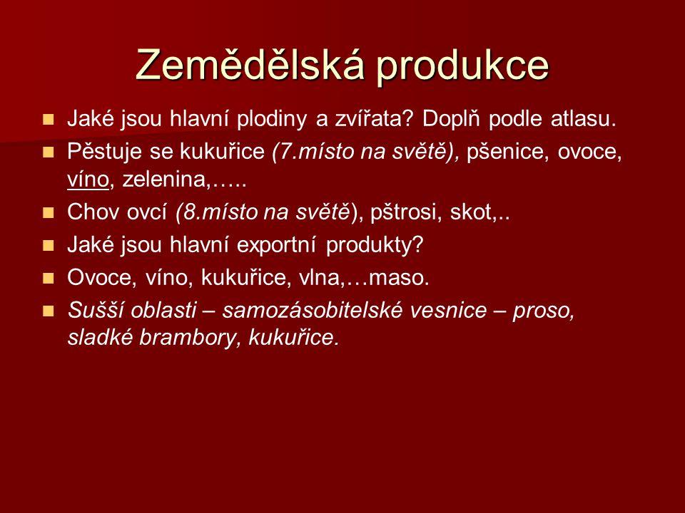 Zemědělská produkce Jaké jsou hlavní plodiny a zvířata? Doplň podle atlasu. Pěstuje se kukuřice (7.místo na světě), pšenice, ovoce, víno, zelenina,…..