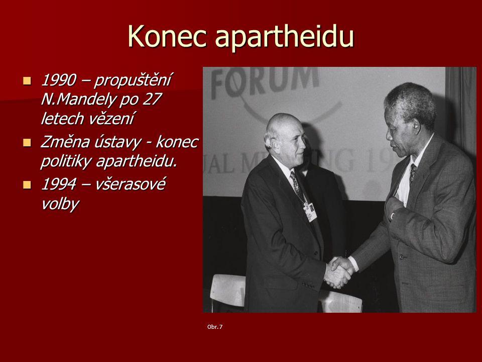 Konec apartheidu 1990 – propuštění N.Mandely po 27 letech vězení 1990 – propuštění N.Mandely po 27 letech vězení Změna ústavy - konec politiky aparthe