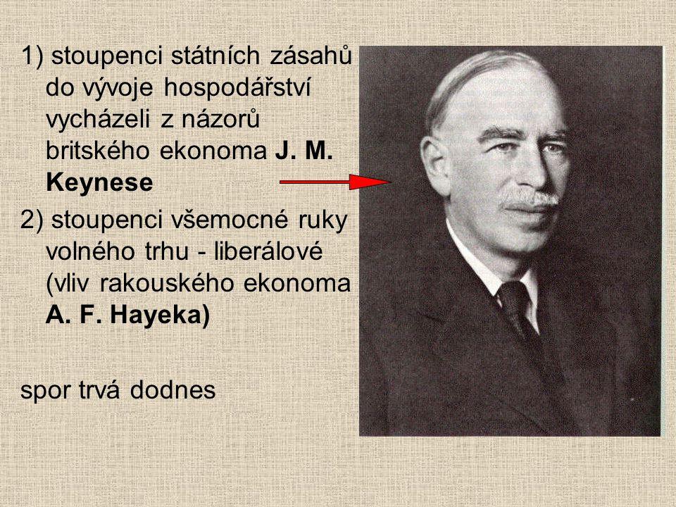 1) stoupenci státních zásahů do vývoje hospodářství vycházeli z názorů britského ekonoma J. M. Keynese 2) stoupenci všemocné ruky volného trhu - liber