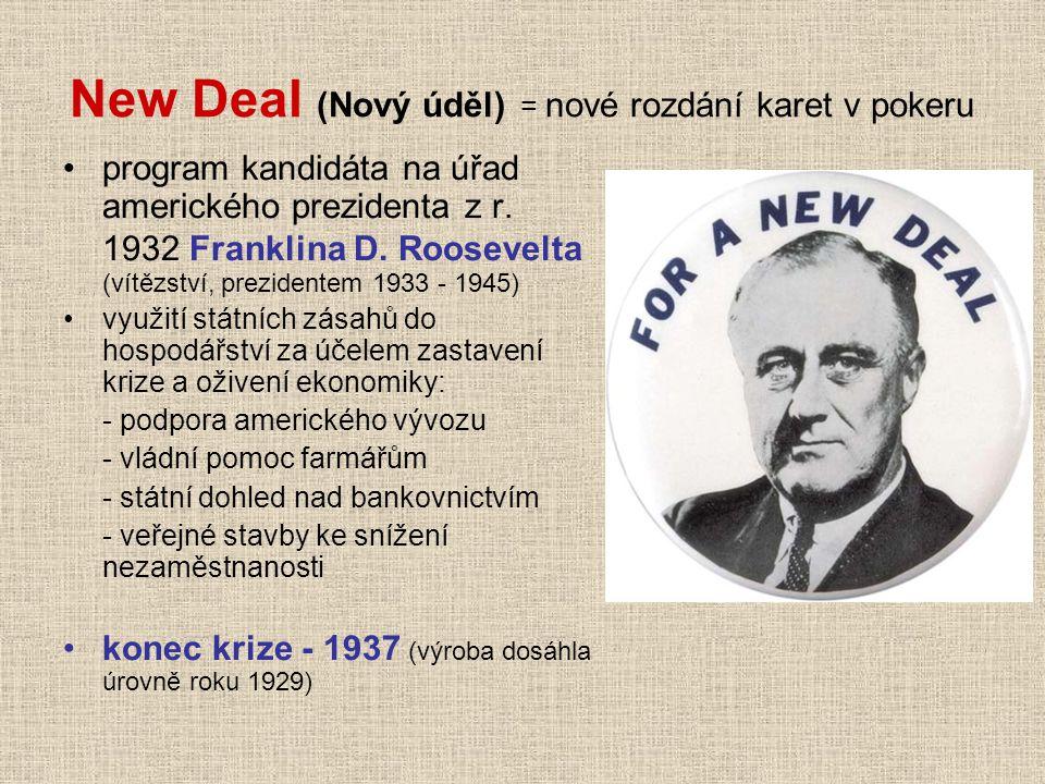 New Deal (Nový úděl) = nové rozdání karet v pokeru program kandidáta na úřad amerického prezidenta z r. 1932 Franklina D. Roosevelta (vítězství, prezi