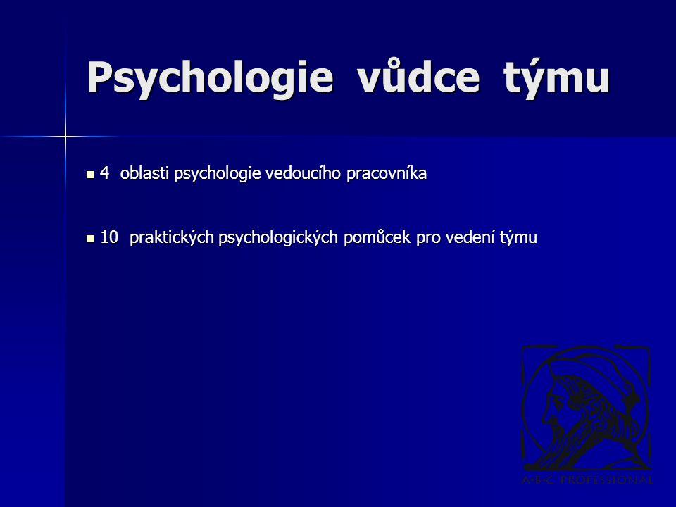 Psychologie vůdce týmu 4 oblasti psychologie vedoucího pracovníka 4 oblasti psychologie vedoucího pracovníka 10 praktických psychologických pomůcek pro vedení týmu 10 praktických psychologických pomůcek pro vedení týmu