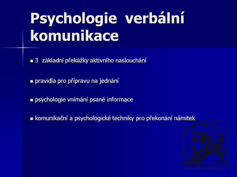 Psychologie verbální komunikace 3 základní překážky aktivního naslouchání 3 základní překážky aktivního naslouchání pravidla pro přípravu na jednání pravidla pro přípravu na jednání psychologie vnímání psané informace psychologie vnímání psané informace komunikační a psychologické techniky pro překonání námitek komunikační a psychologické techniky pro překonání námitek