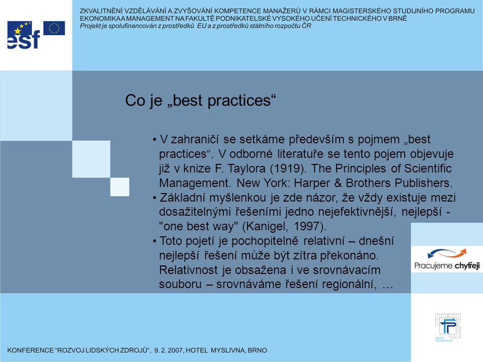 """Co je """"best practices V zahraničí se setkáme především s pojmem """"best practices ."""