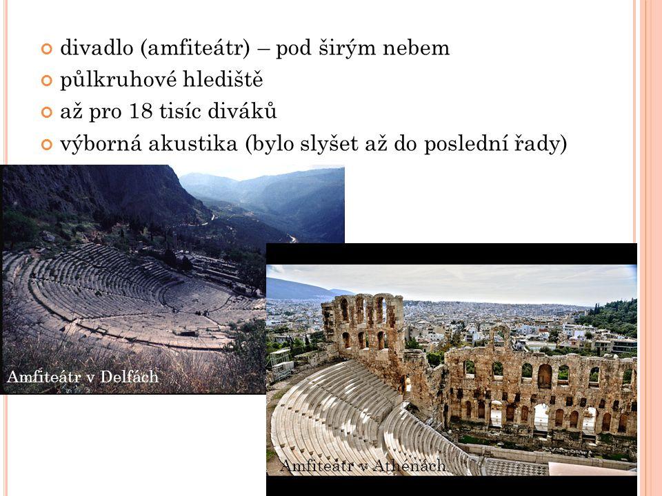 divadlo (amfiteátr) – pod širým nebem půlkruhové hlediště až pro 18 tisíc diváků výborná akustika (bylo slyšet až do poslední řady) Amfiteátr v Delfách Amfiteátr v Athénách