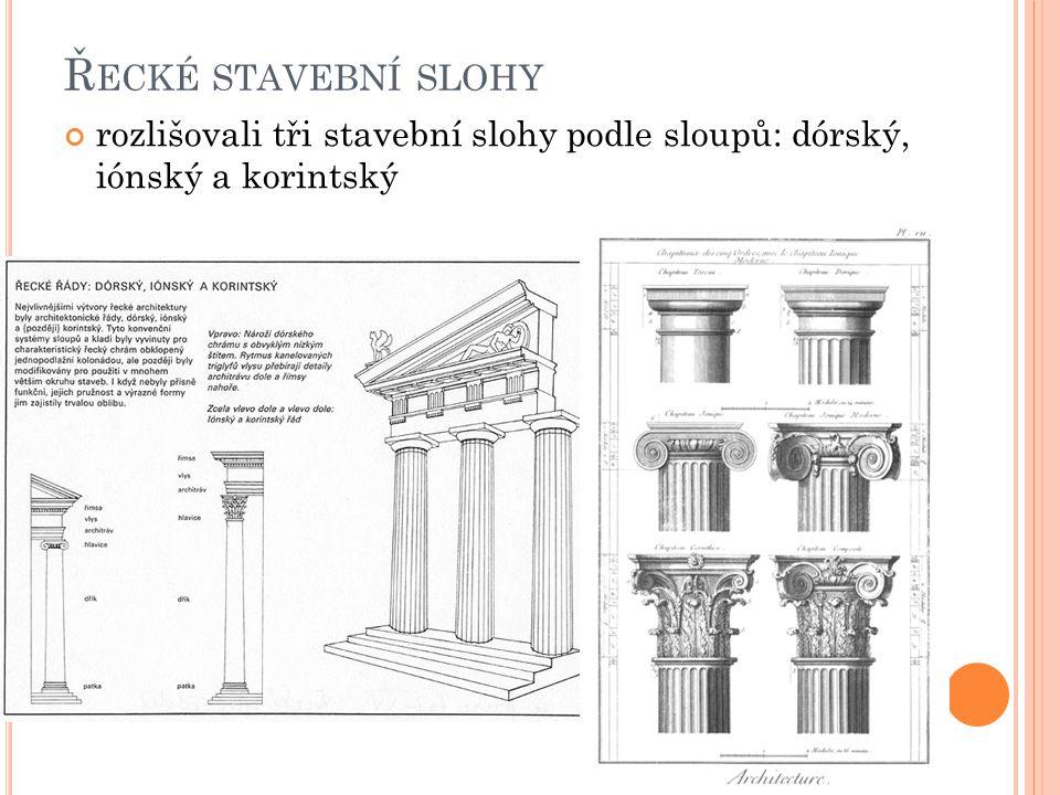 Ř ECKÉ STAVEBNÍ SLOHY rozlišovali tři stavební slohy podle sloupů: dórský, iónský a korintský