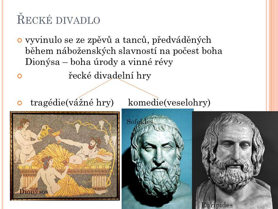 Ř ECKÉ DIVADLO vyvinulo se ze zpěvů a tanců, předváděných během náboženských slavností na počest boha Dionýsa – boha úrody a vinné révy řecké divadelní hry tragédie(vážné hry)komedie(veselohry) Dionýsos Sofokles Euripides
