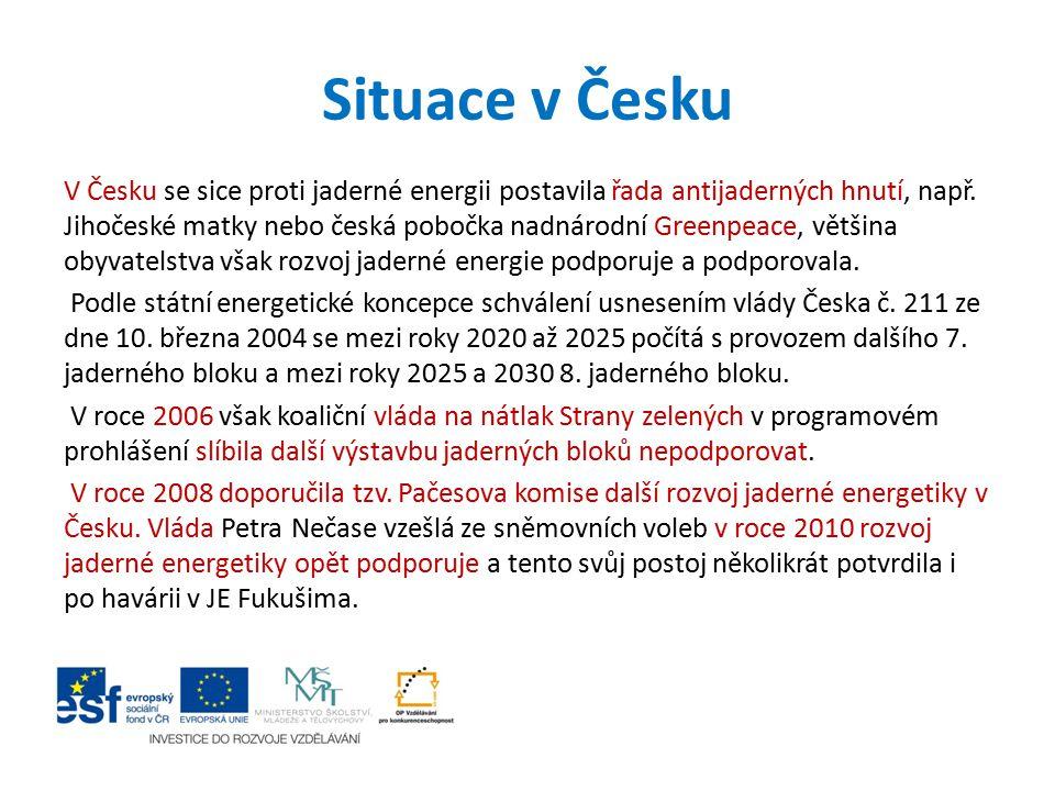 Situace v Česku V Česku se sice proti jaderné energii postavila řada antijaderných hnutí, např. Jihočeské matky nebo česká pobočka nadnárodní Greenpea