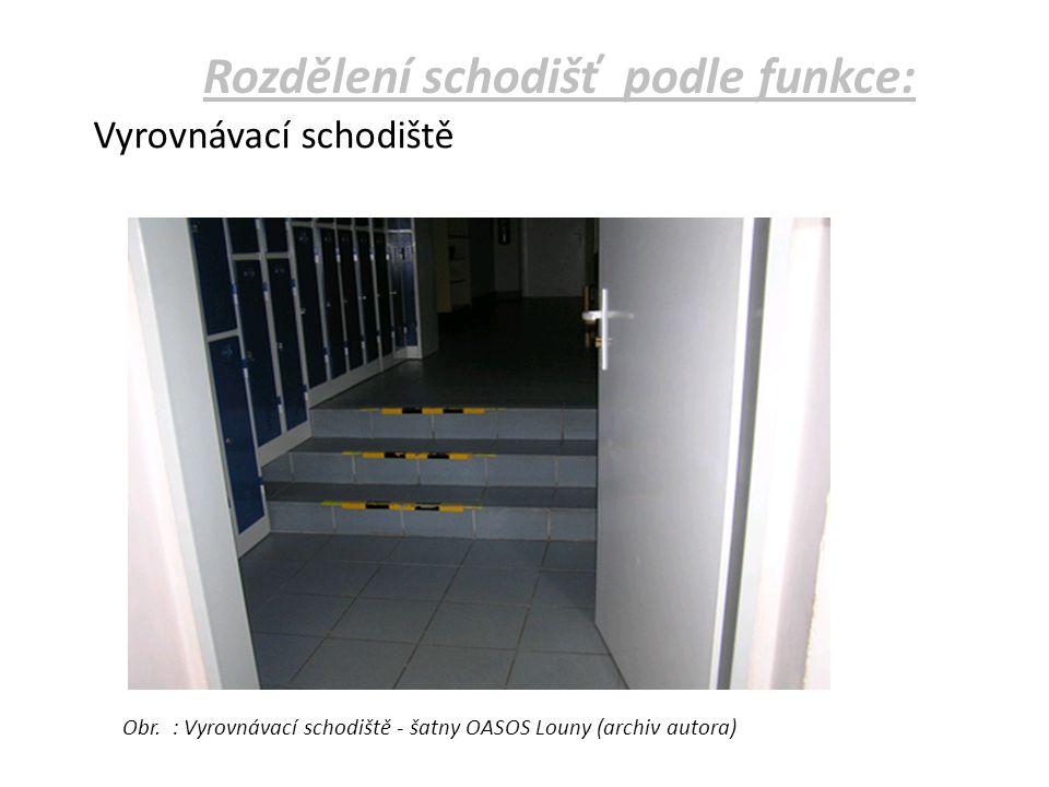 Vyrovnávací schodiště Obr. : Vyrovnávací schodiště - šatny OASOS Louny (archiv autora)