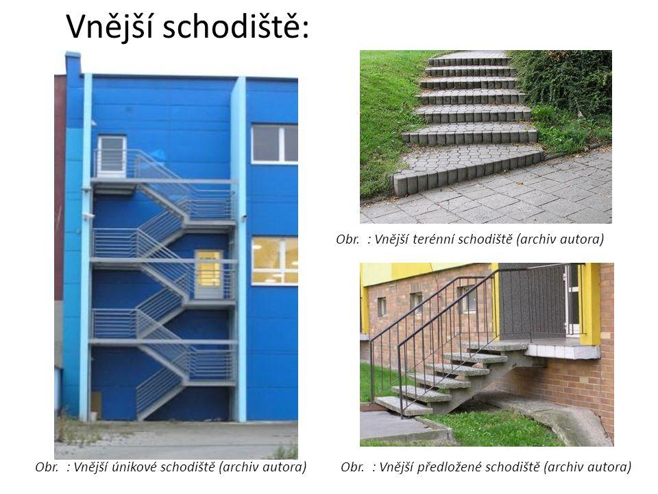 Vnější schodiště: Obr. : Vnější únikové schodiště (archiv autora)Obr. : Vnější předložené schodiště (archiv autora) Obr. : Vnější terénní schodiště (a