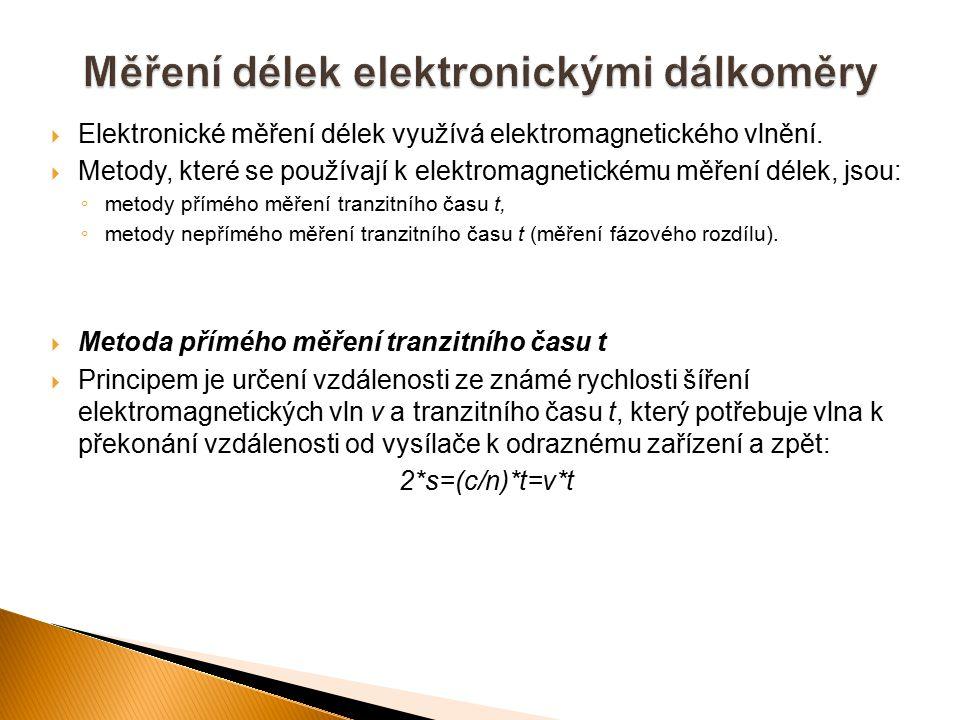  Elektronické měření délek využívá elektromagnetického vlnění.  Metody, které se používají k elektromagnetickému měření délek, jsou: ◦ metody příméh